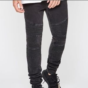 Pacsun moto stacked skinny faded black men's jeans